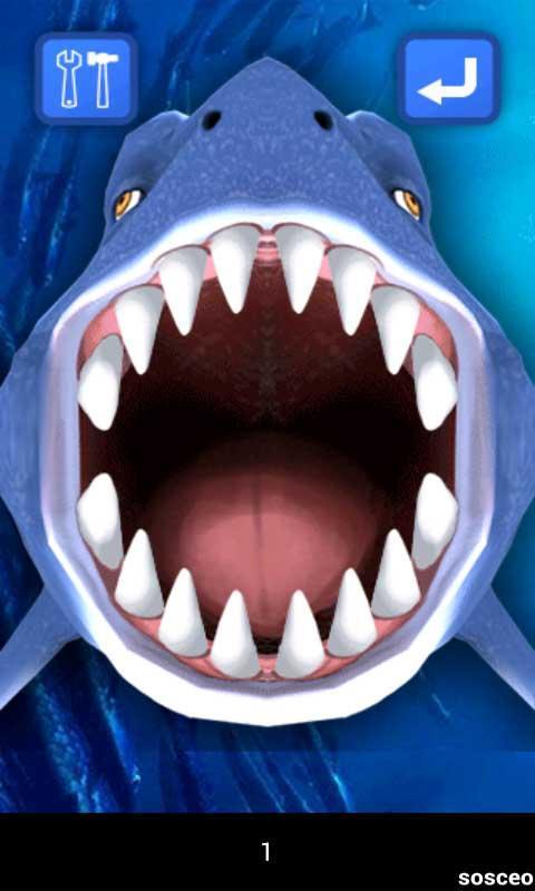 卡通鲨鱼尖锐牙齿